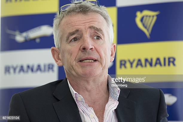 Michael O'Leary chief executive officer of Ryanair Holdings Plc speaks at a news conference presenting the company's halfyear results in London UK on...