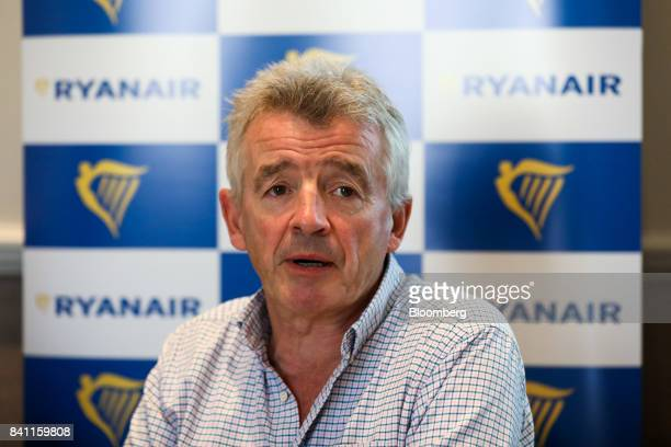 Michael O'Leary chief executive officer of Ryanair Holdings Plc speaks during a news conference in London UK on Thursday Aug 31 2017 O'Leary said he...