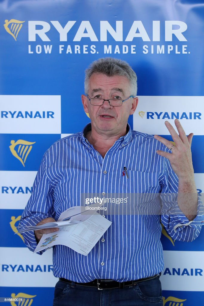 Michael O'Leary, chief executive officer of Ryanair Holdings Plc, speaks during a news conference at Tegel airport in Berlin, Germany, on Thursday, Sept. 14, 2017. Ryanair Holdings Plcshares fell more than 4.4 percent after the European Unions top court ruled the airline could face employee lawsuits wherever cabin crew are based, paving the way for a flurry of claims outside of Ireland and a possible increase in employment costs. Photographer: Krisztian Bocsi/Bloomberg via Getty Images