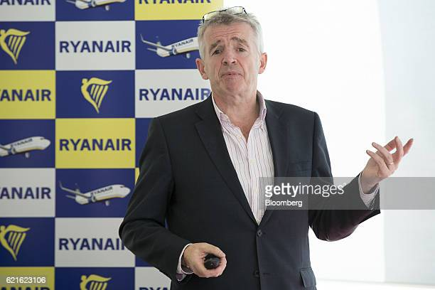 Michael O'Leary chief executive officer of Ryanair Holdings Plc gestures while speaking at a news conference presenting the company's halfyear...