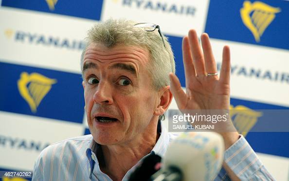 Michael O'Leary Irish businessman and the chief executive officer of the Irish airline Ryanair speaks during press conference on February 4 2015 in...