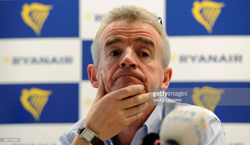 <a gi-track='captionPersonalityLinkClicked' href=/galleries/search?phrase=Michael+O%27Leary&family=editorial&specificpeople=5600252 ng-click='$event.stopPropagation()'>Michael O'Leary</a>, Irish businessman and the chief executive officer of the Irish airline Ryanair, gives a press conference on February 4, 2015 in Bratislava. AFP PHOTO / SAMUEL KUBANI