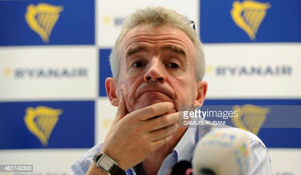 Michael O'Leary Irish businessman and the chief executive officer of the Irish airline Ryanair gives a press conference on February 4 2015 in...