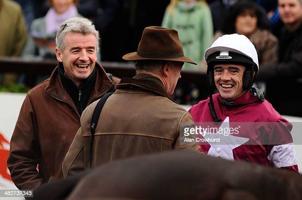 Michael O'Leary with Ruby Walsh and Willie Mullins laugh after Analifet wins at Fairyhouse racecourse on December 01 2013 in Ratoath Ireland