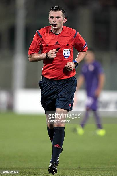 Michael Oliver referee during the UEFA Europa League match between Fiorentina and Basel on September 17 2015 in Florence Italy