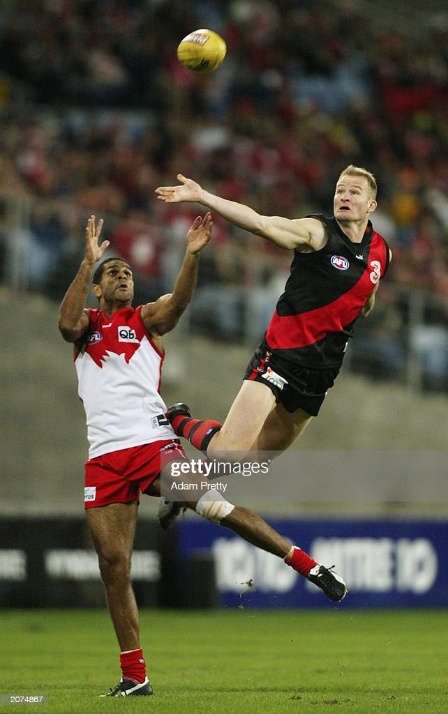 Michael O'Loughlin of the Swans competes with Sean Wellman of the Bombers during the round 11 AFL match between the Sydney Swans and the Essendon...