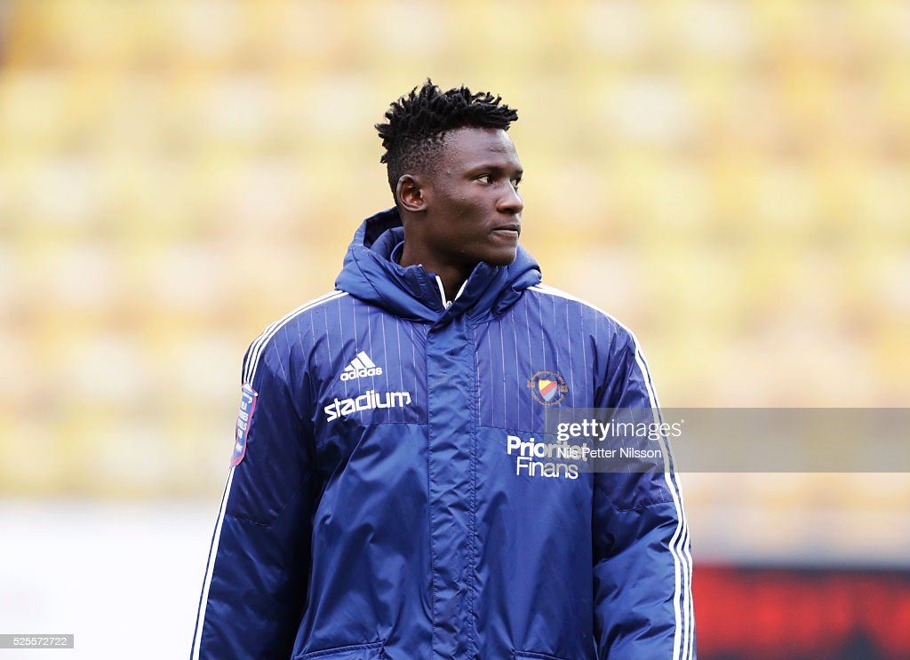 Michael Olunga of Djurgardens IF during the Allsvenskan match between IF Elfsborg and Djurgardens IF at Boras Arena on April 28, 2016 in Boras, Sweden.