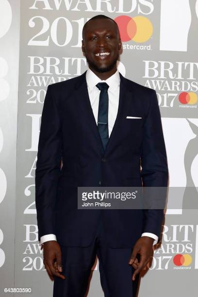Michael Omari aka Stormzy attends The BRIT Awards 2017 at The O2 Arena on February 22 2017 in London England