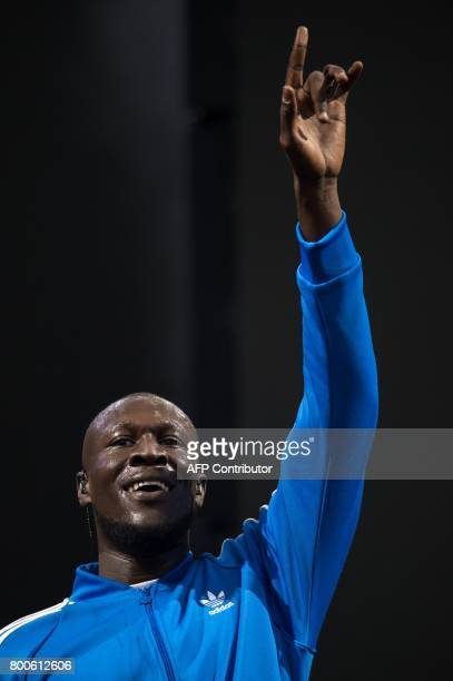 Michael Omari known as 'Stormzy' performs on the Other Stage during the Glastonbury Festival of Music and Performing Arts on Worthy Farm near the...
