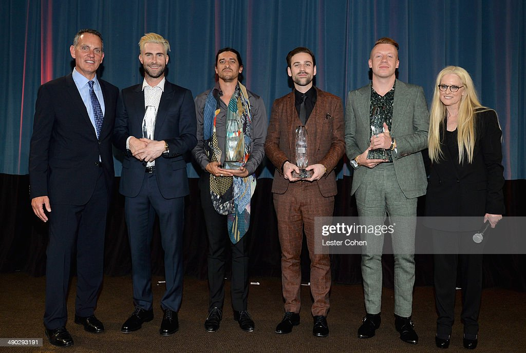 Michael O'Neill; BMI Songwriter of the Year Award winners <a gi-track='captionPersonalityLinkClicked' href=/galleries/search?phrase=Adam+Levine+-+Singer&family=editorial&specificpeople=202962 ng-click='$event.stopPropagation()'>Adam Levine</a>, <a gi-track='captionPersonalityLinkClicked' href=/galleries/search?phrase=Jeff+Bhasker&family=editorial&specificpeople=8901106 ng-click='$event.stopPropagation()'>Jeff Bhasker</a>, Ryan Lewis and <a gi-track='captionPersonalityLinkClicked' href=/galleries/search?phrase=Macklemore&family=editorial&specificpeople=7639427 ng-click='$event.stopPropagation()'>Macklemore</a>; and BMI Vice President & General Manager, Writer/Publisher Relations L.A. Barbara Cane attend the 2014 BMI Pop Awards at the Beverly Wilshire Four Seasons Hotel on May 13, 2014 in Beverly Hills, California.