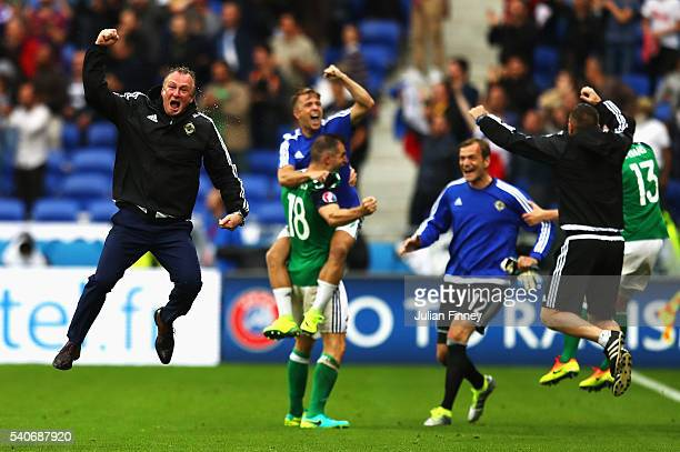 Michael O'Neill manager of Northern Ireland celebrates his team's second goal during the UEFA EURO 2016 Group C match between Ukraine and Northern...