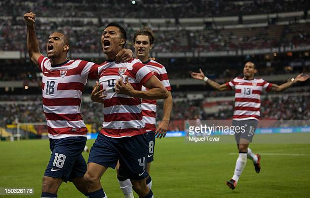 Michael Orozco of the United States celebrates after scoring during a FIFA friendly match between Mexico and US at Azteca Stadium on August 15 2012...