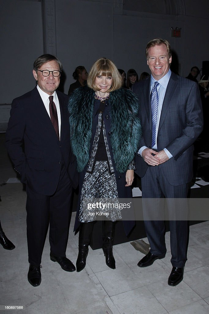 Michael Ovitz, Anna Wintour and Roger Goodell, NFL Commissioner attend the Kimberly Ovitz show during Fall 2013 Mercedes-Benz Fashion Week at Cafe Rouge on February 7, 2013 in New York City.