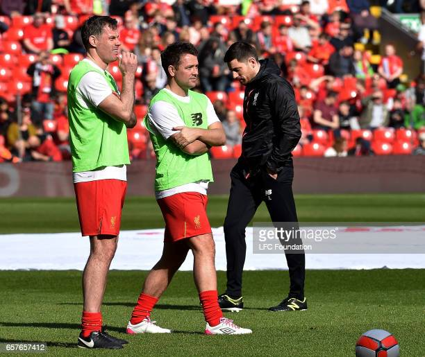 Michael Owen and Jamie Carragher of Liverpool Legends before the LFC Foundation Charity Match between Liverpool Legends and Real Madrid Legends at...