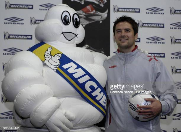 Michael Owen and Michelin Man during the launch of the new Umbro Evolution X football boot at the Village Underground Shoreditch London