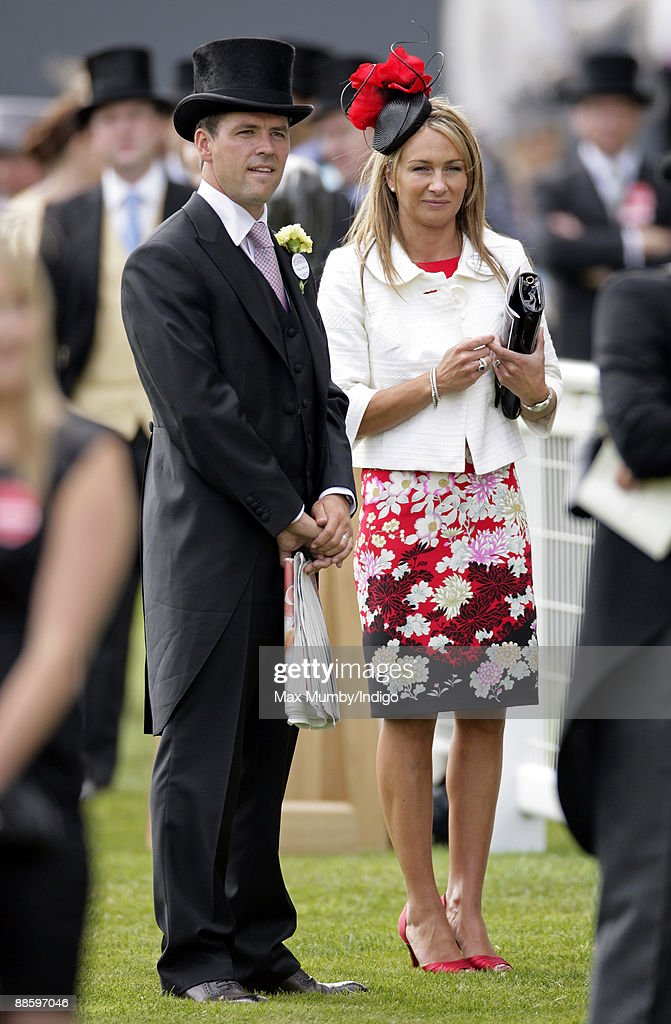 Michael Owen (L) and wife Louise Bonsall watch the racing as they attend the fifth and final day of Royal Week at Ascot Racecourse on June 20, 2009 in Ascot, England.