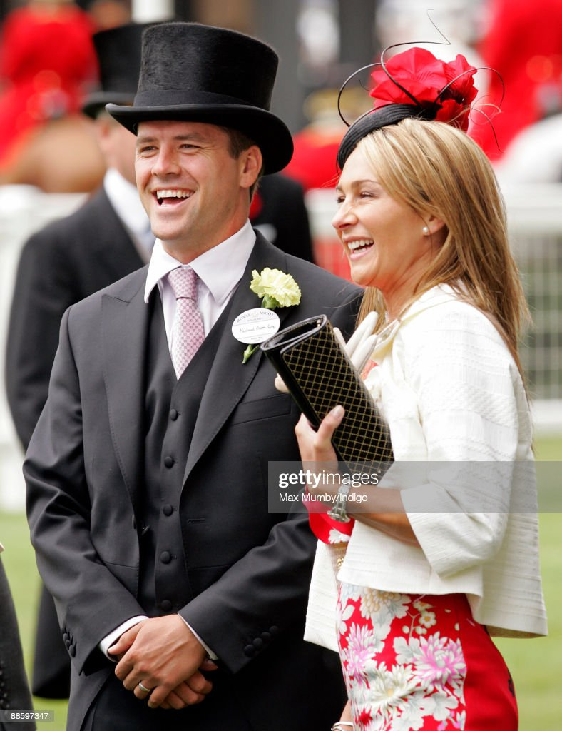Michael Owen and wife Louise Bonsall watch the racing as they attend the fifth and final day of Royal Week at Ascot Racecourse on June 20, 2009 in Ascot, England.