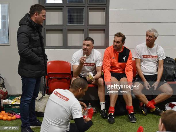 Michael Owen John Aldridge Jason Mcateer and Ian Rush Liverpool Legends during a training session at Liverpool FC Academy on March 13 2017 in Kirkby...