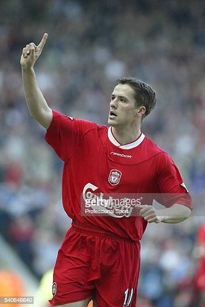 Michael Owen of Liverpool celebrates his opening goal during the FA Barclaycard Premiership match between Liverpool and Leeds United held on March 23...