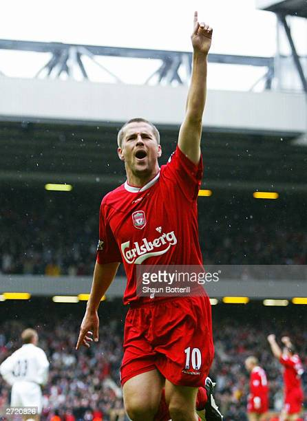 Michael Owen of Liverpool celebrates scoring during the FA Barclaycard Premiership match between Liverpool and Leeds on October 25 2003 at Anfield in...