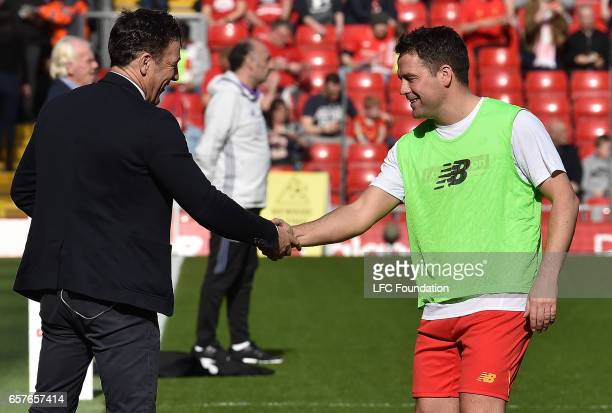 Michael Owen of Liverpool Legends before the LFC Foundation Charity Match between Liverpool Legends and Real Madrid Legends at Anfield on March 25 in...
