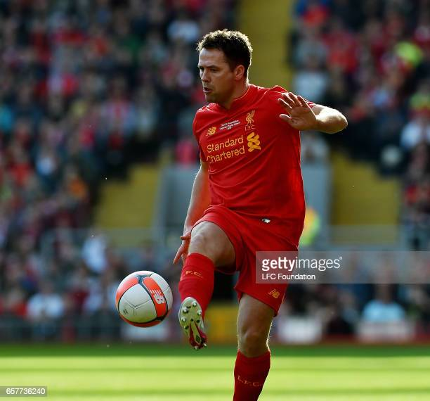 Michael Owen of Liverpool Legends during the LFC Foundation Charity Match between Liverpool Legends and Real Madrid Legends at Anfield on March 25 in...
