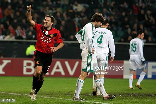 Michael OWen of Manchester celebrates after scoring his teams second goal during the UEFA Champions League Group B match between VfL Wolfsburg and...