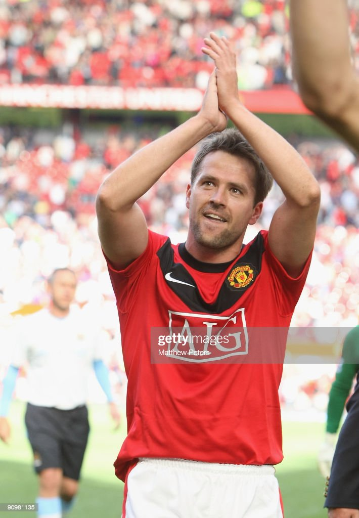 Michael Owen of Manchester United celebrates at the end of the Barclays Premier League match between Manchester United and Manchester City at Old Trafford on September 20 2009, in Manchester, England.