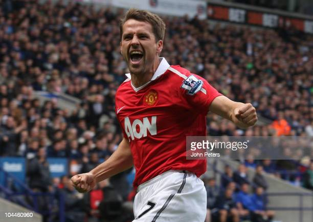 Michael Owen of Manchester United celebrates scoring their second goal during the Barclays Premier League match between Bolton Wanderers and...