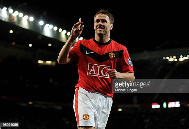 Michael Owen of Manchester United celebrates scoring to make it 30 during the Barclays Premier League match between Manchester United and West Ham...