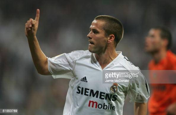 Michael Owen of Real Madrid celebrates his goal during the La Liga match between Real Madrid v Valencia at the Bernabau stadium on October 23 2004 in...