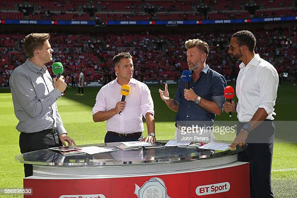 Michael Owen Robbie Savage and Rio Ferdinand are interviewed by Jake Humphrey of BT Sport ahead of the FA Community Shield match between Leicester...