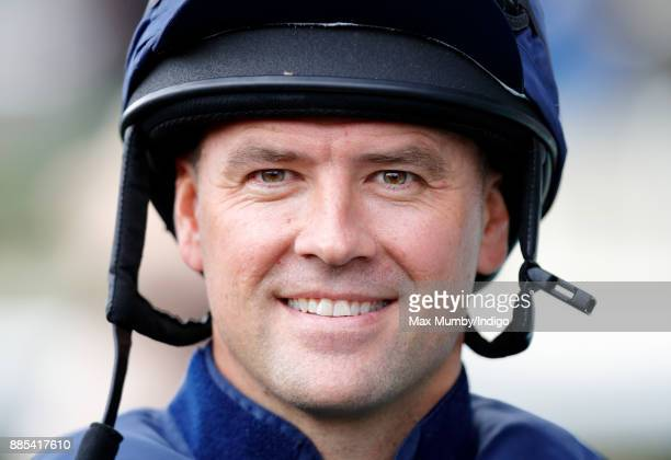 Michael Owen seen in the parade ring before riding 'Calder Prince' in The Prince's Countryside Fund Charity Race at Ascot Racecourse on November 24...