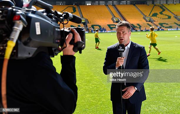 Michael Owen speaks for the BT Sport prior to the Barclays Premier League match between Norwich City and Manchester United at Carrow Road on May 7...