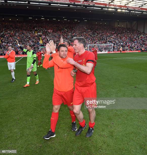 Michael Owen with Jamie Carragher Legends at the end of the LFC Foundation Charity Match between Liverpool Legends and Real Madrid Legends at Anfield...