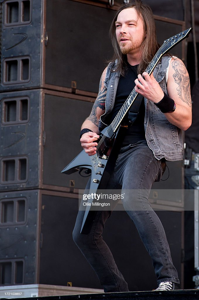 Michael Padge Paget of Bullet For My Valentine performs at Day 1 of The Download Festival at Donnington Park on June 14, 2013 in Donnington, England.