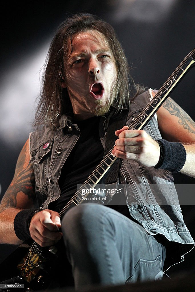 Michael Padge Paget of Bullet For My Valentine performs at day one of the Lowlands Festival on August 16, 2013 in Biddinghuizen, Netherlands.