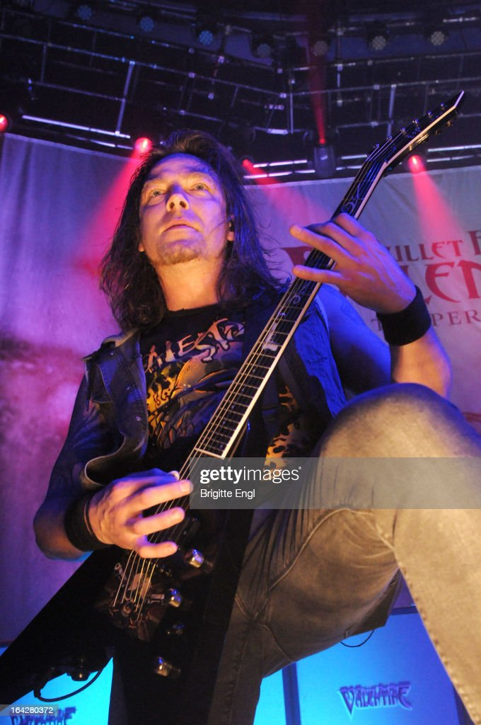 Michael Pagat of Bullet For My Valentine perform on stage at The Roundhouse on March 17, 2013 in London, England.