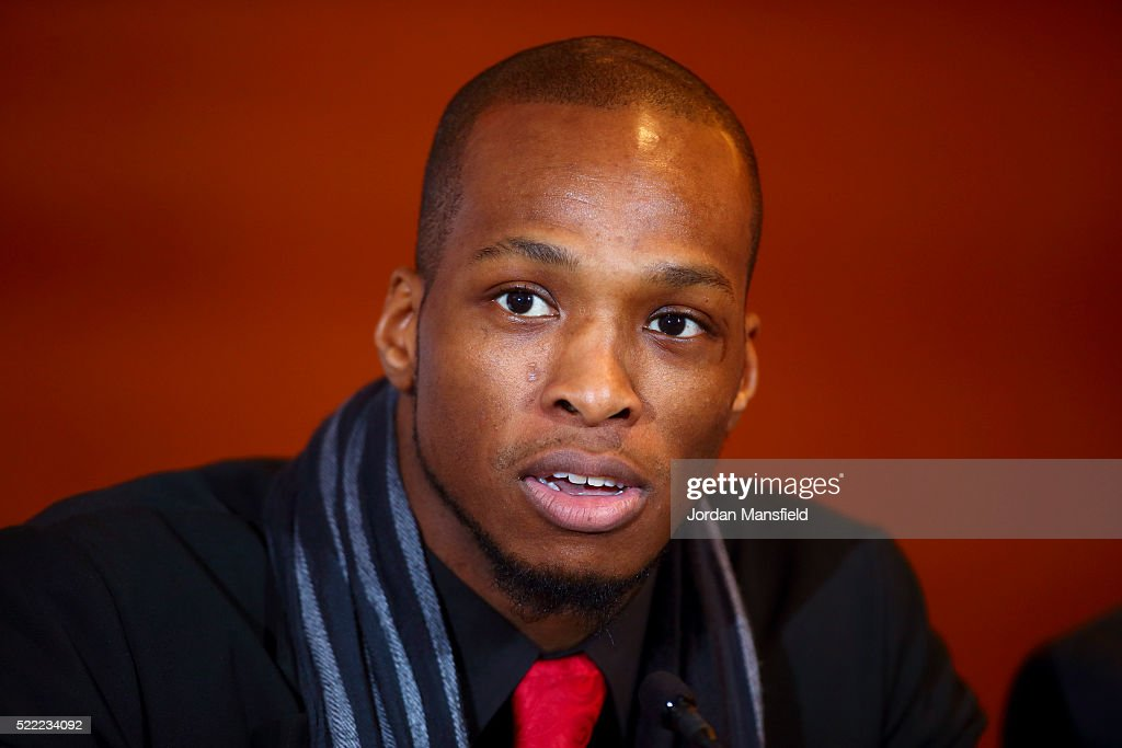 Michael Page speaks during the Bellator 158 MMA Press Conference at the Four Seasons Hotel on April 18, 2016 in London, England.