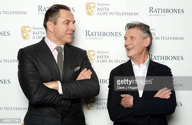 Michael Palin and David Walliams attend BAFTA A Life In Television With Michael Palin at BAFTA on March 17 2015 in London England