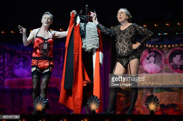 Michael Palin and Eric Idle perform on the closing night of 'Monty Python Live ' at The O2 Arena on July 20 2014 in London England