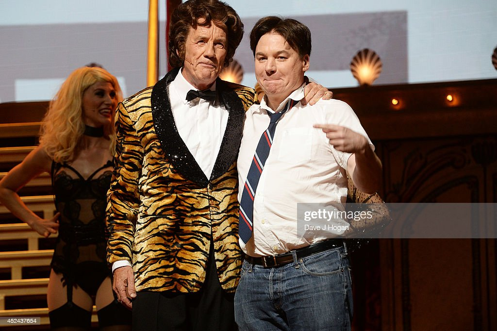<a gi-track='captionPersonalityLinkClicked' href=/galleries/search?phrase=Michael+Palin&family=editorial&specificpeople=208240 ng-click='$event.stopPropagation()'>Michael Palin</a> and Mike Myers perform on the closing night of 'Monty Python Live (Mostly)' at The O2 Arena on July 20, 2014 in London, England.