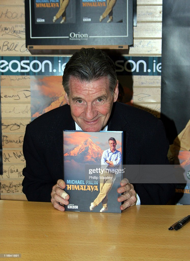 <a gi-track='captionPersonalityLinkClicked' href=/galleries/search?phrase=Michael+Palin&family=editorial&specificpeople=208240 ng-click='$event.stopPropagation()'>Michael Palin</a> during <a gi-track='captionPersonalityLinkClicked' href=/galleries/search?phrase=Michael+Palin&family=editorial&specificpeople=208240 ng-click='$event.stopPropagation()'>Michael Palin</a> Book Signing at Easons Book Store in Dublin, Ireland.