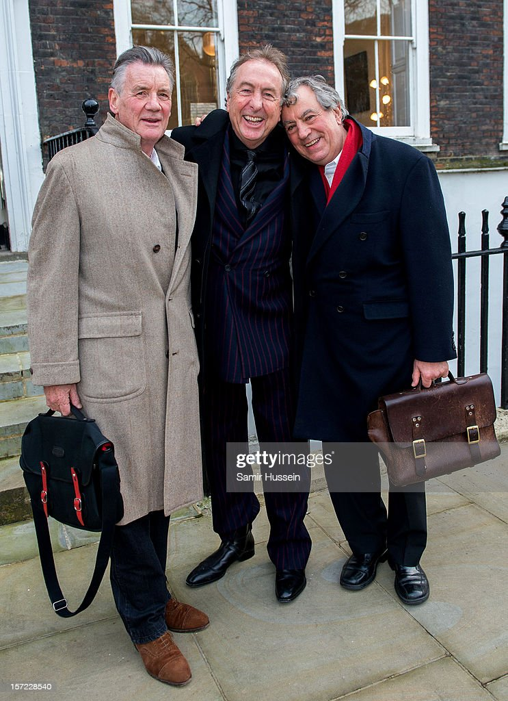 <a gi-track='captionPersonalityLinkClicked' href=/galleries/search?phrase=Michael+Palin&family=editorial&specificpeople=208240 ng-click='$event.stopPropagation()'>Michael Palin</a>, <a gi-track='captionPersonalityLinkClicked' href=/galleries/search?phrase=Eric+Idle&family=editorial&specificpeople=213355 ng-click='$event.stopPropagation()'>Eric Idle</a> and Terry Jones of Monty Python pose together ahead of a legal case at the High Court in a dispute over the hit musical Spamalot on November 30, 2012 in London, England. Mark Forstater, producer of the film Monty Python And The Holy Grail, is seeking the right to royalties from stage musical Spamalot.