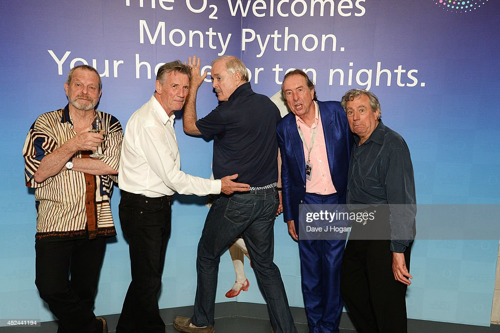 <a gi-track='captionPersonalityLinkClicked' href=/galleries/search?phrase=Michael+Palin&family=editorial&specificpeople=208240 ng-click='$event.stopPropagation()'>Michael Palin</a>, <a gi-track='captionPersonalityLinkClicked' href=/galleries/search?phrase=Terry+Gilliam&family=editorial&specificpeople=221636 ng-click='$event.stopPropagation()'>Terry Gilliam</a>, <a gi-track='captionPersonalityLinkClicked' href=/galleries/search?phrase=Eric+Idle&family=editorial&specificpeople=213355 ng-click='$event.stopPropagation()'>Eric Idle</a>, <a gi-track='captionPersonalityLinkClicked' href=/galleries/search?phrase=John+Cleese&family=editorial&specificpeople=211415 ng-click='$event.stopPropagation()'>John Cleese</a> and Terry Jones attend the closing night after party for 'Monty Python Live (Mostly)' at The O2 Arena on July 20, 2014 in London, England.
