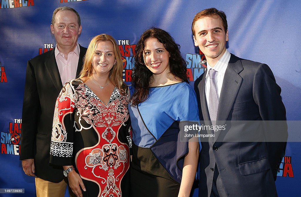 Michael Palit, Whitney Hoaguawld Edwards, Stephanie Rosenberg and Andy Sandberg attend 'The Last Smoker In America' Hosts 'Smoke-in/Smoke-Out' at The Westside Theatre on August 2, 2012 in New York City.