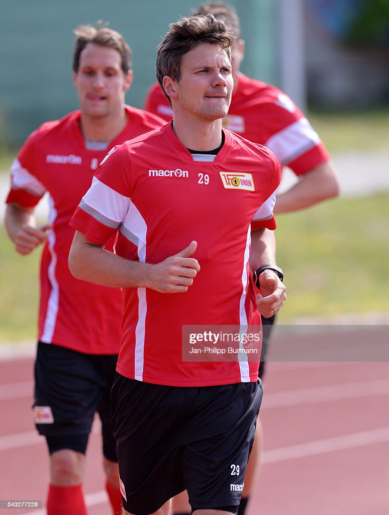 <a gi-track='captionPersonalityLinkClicked' href=/galleries/search?phrase=Michael+Parensen&family=editorial&specificpeople=2482596 ng-click='$event.stopPropagation()'>Michael Parensen</a> of 1 FC Union Berlin during the lactate tests on June 27, 2016 in Berlin, Germany.