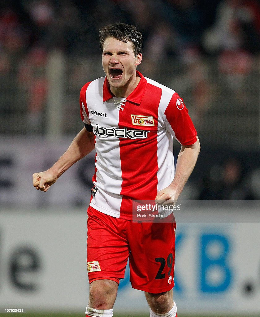 Michael Parensen of Berlin celebrates after winning the Second Bundesliga match between 1. FC Union Berlin and 1. FC Kaiserslautern at Stadion An der Alten Foersterei on December 7, 2012 in Berlin, Germany.
