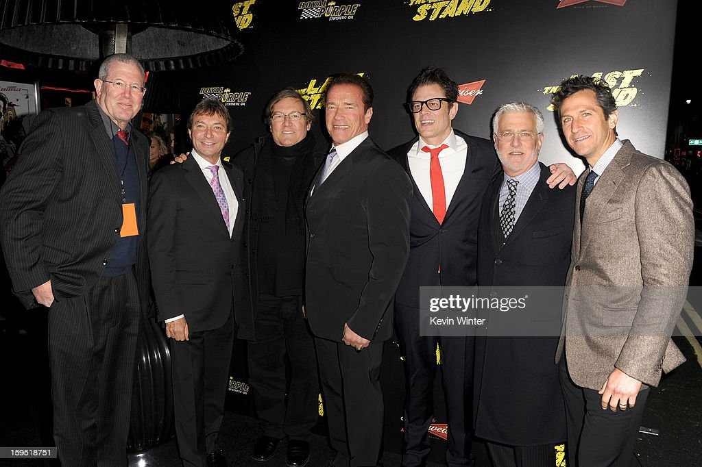 Michael Paseornek, Lionsgate Motion Picture Group President of Motion Picture Production and Development, Patrick Wachsberger, Lionsgate Motion Picture Group Co-Chairman, producer Lorenzo di Bonaventura, actors Arnold Schwarzenegger, Johnny Knoxville, Rob Friedman, Lionsgate Motion Picture Group Co-Chairman, and Erik Feig, Lionsgate Motion Picture Group President of Production arrive at the premiere of Lionsgate Films' 'The Last Stand' at Grauman's Chinese Theatre on January 14, 2013 in Hollywood, California.