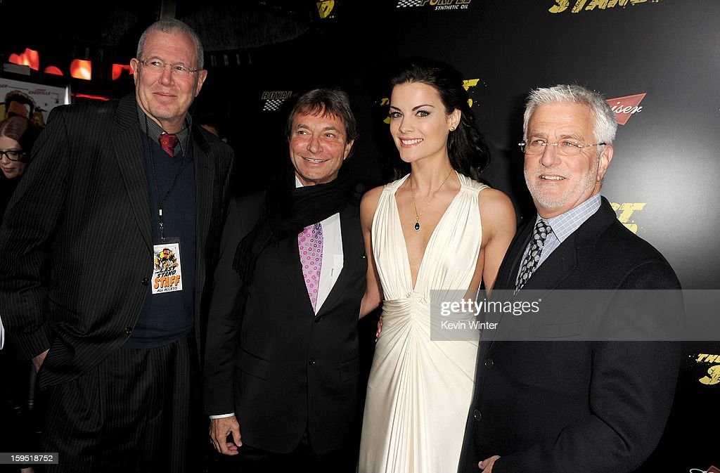 Michael Paseornek, Lionsgate Motion Picture Group President of Motion Picture Production and Development, Patrick Wachsberger, Lionsgate Motion Picture Group Co-Chairman, actress Jaimie Alexander, and Rob Friedman, Lionsgate Motion Picture Group Co-Chairman arrive at the premiere of Lionsgate Films' 'The Last Stand' at Grauman's Chinese Theatre on January 14, 2013 in Hollywood, California.